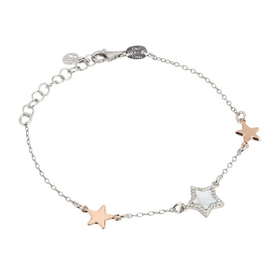 Bracelet with central star in mother of pearl and zircons