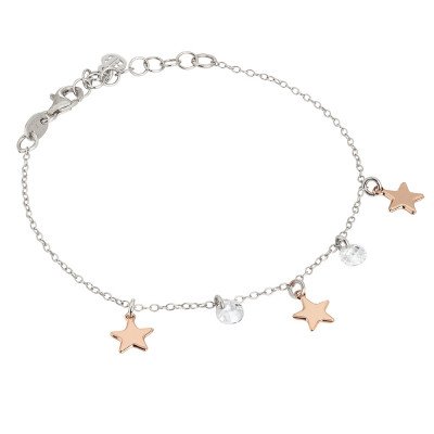 Bracelet with pink stars and circular elements in mother of pearl and zircons