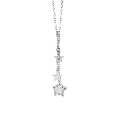 Necklace with a tuft pendant of mother-of-pearl stars and zircons