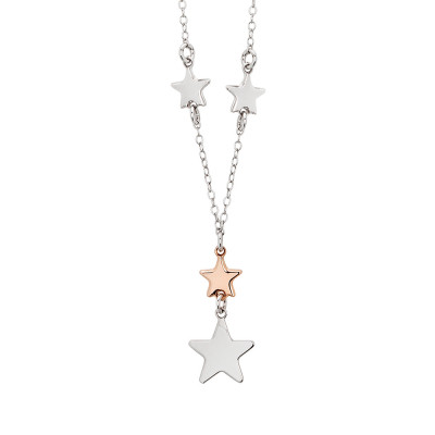 Necklace with two-colored stars pendant