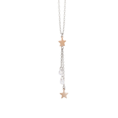 Necklace with a pendant of zircons and stars