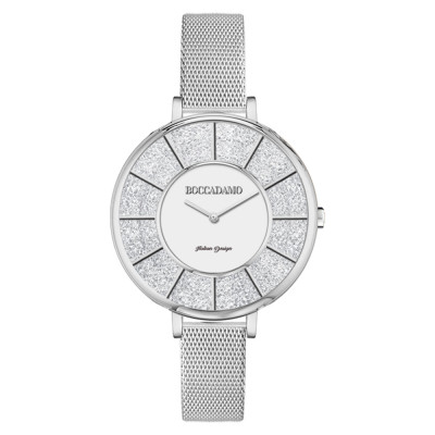 Silver watch in mesh mesh and dial with Swarovski pavè