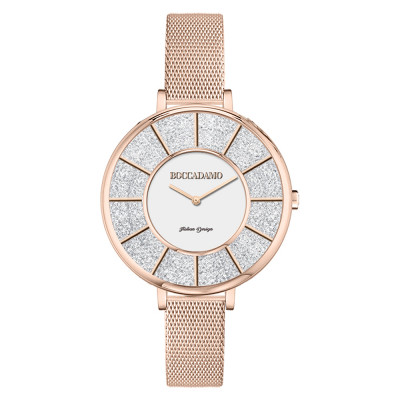 Rose gold watch in mesh mesh and dial with Swarovski pavè