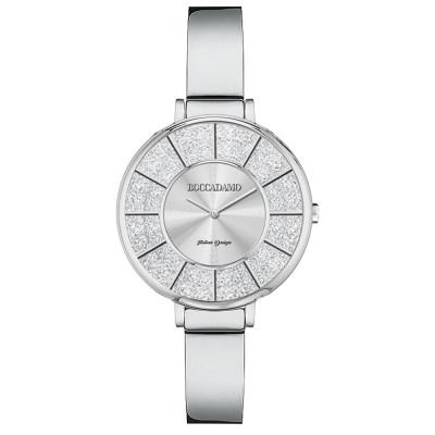 Silver watch with semi-rigid strap and Swarovski dial