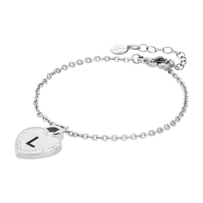 Bracelet rodiatos with heart and letter L perforated