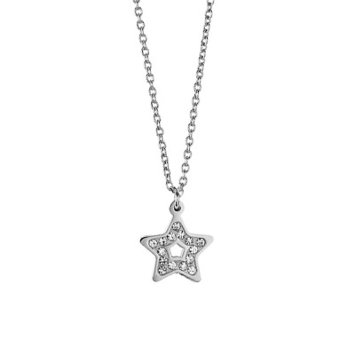 Steel necklace with pendant star and rhinestone pav