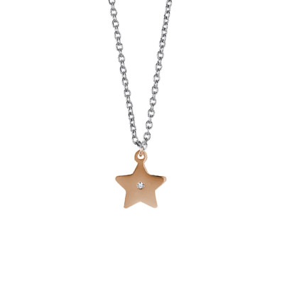 Steel necklace with pendant pink star and strass