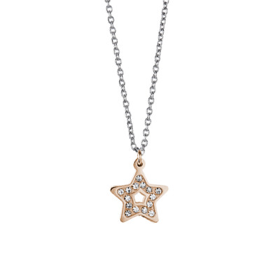 Steel necklace with a pink star pendant and rhinestone pav