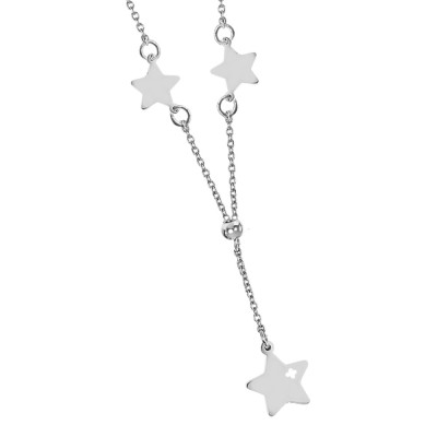 Necklace with side stars and pendant
