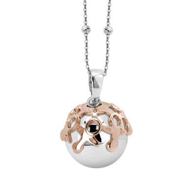 Necklace with sonorous pendant and pink cup decorated with pacifiers