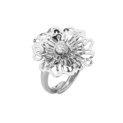 Rhodium ring with three-dimensional wild rose and zircons