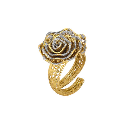 Golden ring with rose in silver glitter