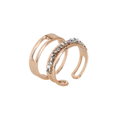 Pair of rose band rings with pavè of Swarovski crystals