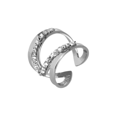 Open band ring with pavè of Swarovski crystals