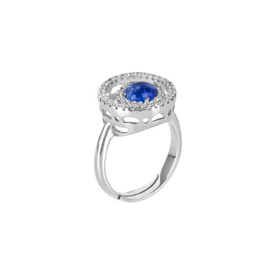 Ring with zircon base and blue cabochon
