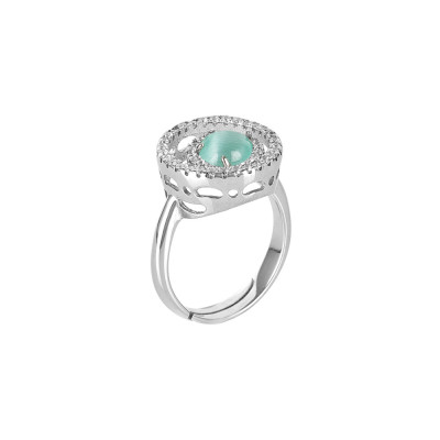 Ring with zircons base and water green cabochon