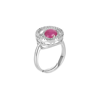 Ring with zircon base and fuchsia cabochon