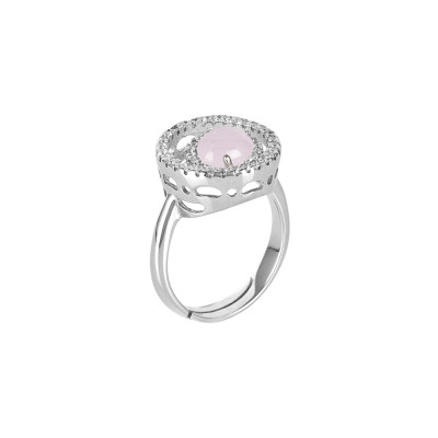 Ring with zircon base and light pink cabochon