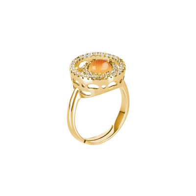 Ring with zircon base and flecked orange cabochon