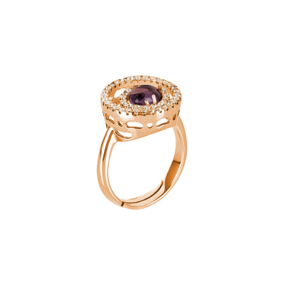 Ring with zircon base and fleck amethyst cabochon