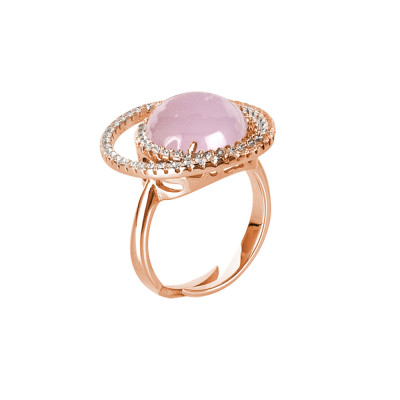 Double base zircon ring and light pink cabochon
