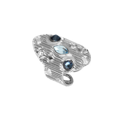 Navette ring with blue Swarovski