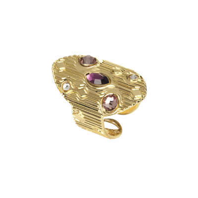 Navette ring with pink Swarovski