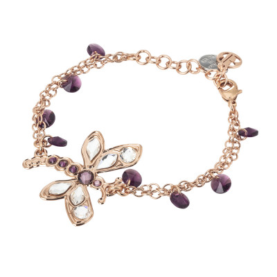 Bracelet with central dragonfly and amethyst crystals