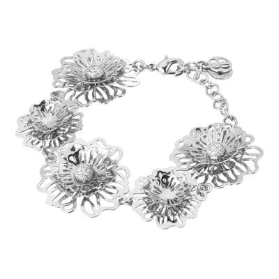 Semi-rigid bracelet with three-dimensional wild roses and zircons