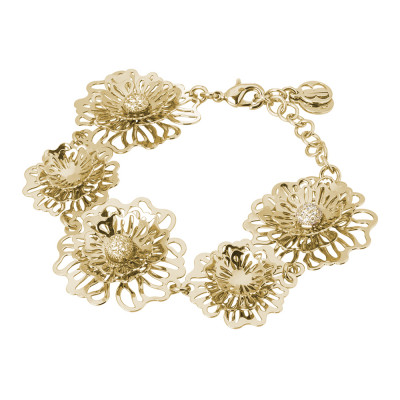 Semi-rigid golden bracelet with three-dimensional wild roses and zircons