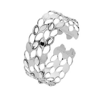 Rhodium-plated band bracelet with grain and Swarovski decorations