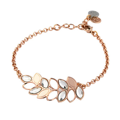 Rosé bracelet with central wheat and Swarovski