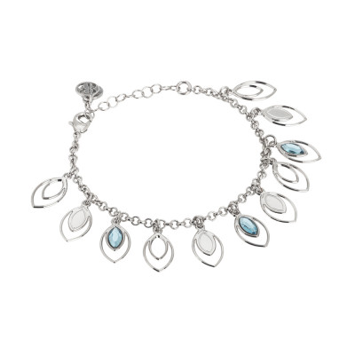 Bracelet with charms of wheat and Swarovski aquamarine