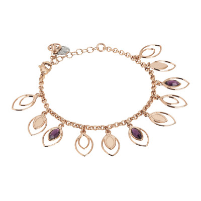 Bracelet with charms of wheat and Swarovski amethyst