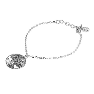 Rhodium-plated bracelet with tree of life in black glitter