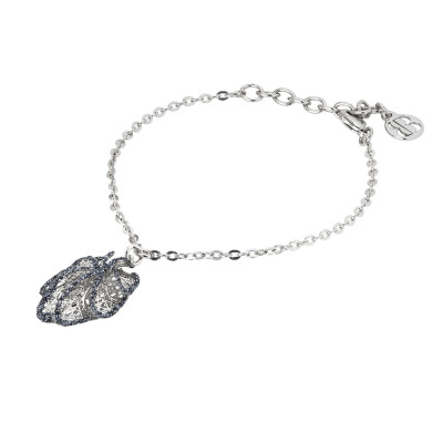 Rhodium-plated bracelet with leaf charm in black glitter