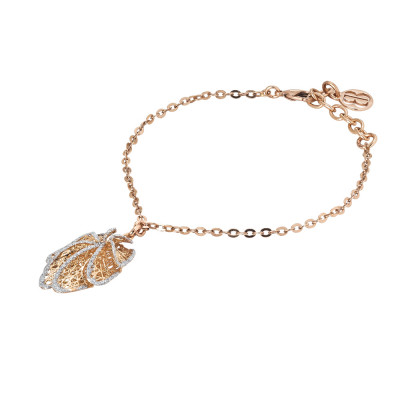 Rosé bracelet with leaf charm in silver glitter