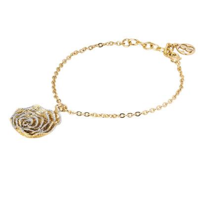 Golden bracelet with rose in silver glitter