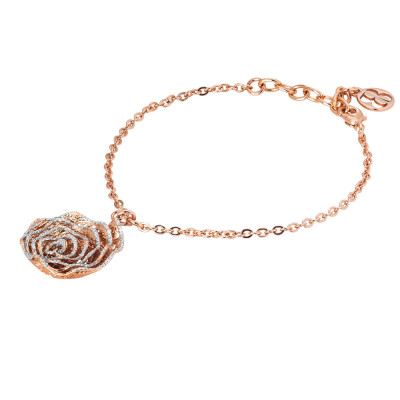Rosé bracelet with rose in silver glitter