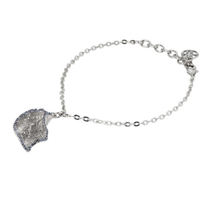Rhodium-plated bracelet with black glitter calla