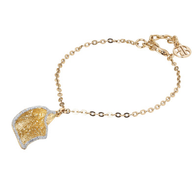 Golden bracelet with silver glitter calla