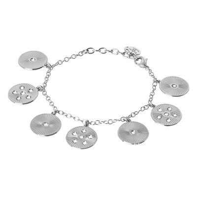 Rhodium-plated bracelet with radial charms and Swarovski
