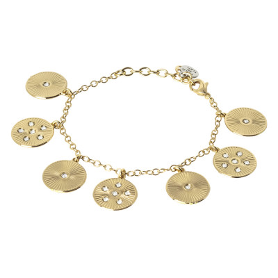 Golden bracelet with radial charms and Swarovski