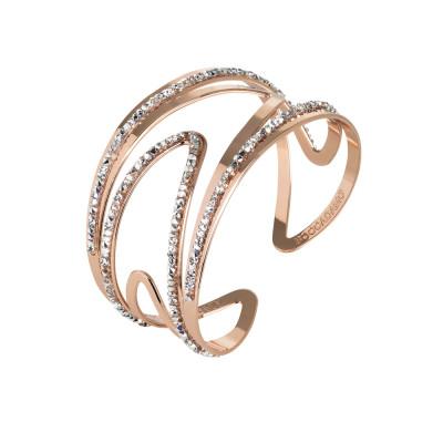Rigid pink band bracelet with asymmetrical surfaces and Swarovski