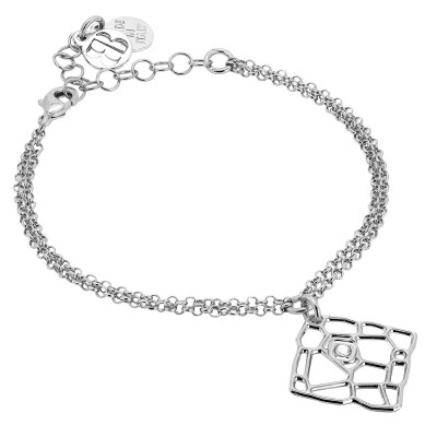 Double wire rhodium-plated bracelet with mesh and Swarovski texture pendant