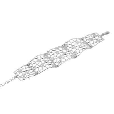 Semi-rigid bracelet rhodium-plated with mesh and Swarovski weave