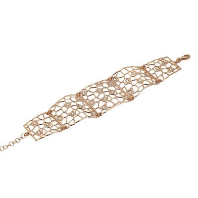 Semi-rigid rosé bracelet with mesh and Swarovski weave