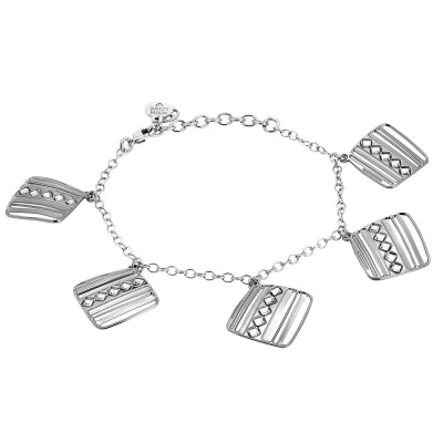 Rhodium-plated bracelet with pendants decorated with diamonds of Swarovski crystals
