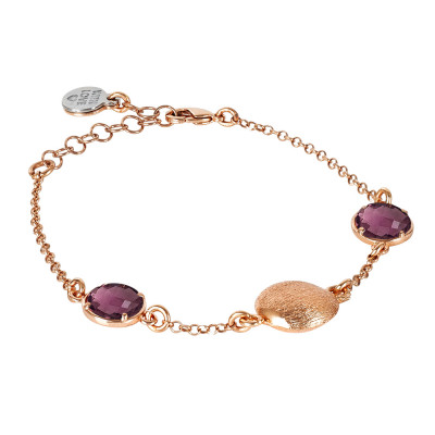 Rosé bracelet with amethyst crystals and scratched element