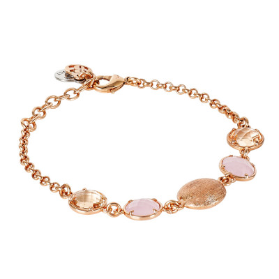 Bracelet with peach crystals, milk pink and scratched element